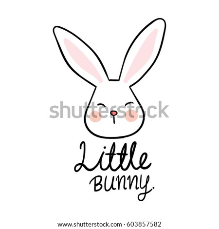 Draw Vector Illustration Logo Design Of Little Bunny Doodle Style