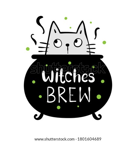Draw vector illustration witches brew and cat in magical cauldron for Halloween day.Doodle cartoon style. Photo stock ©