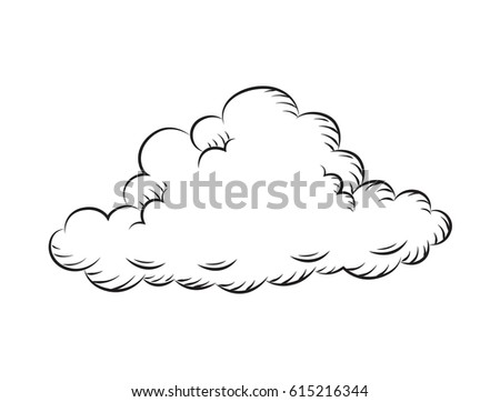 draw vintage cloud  vector