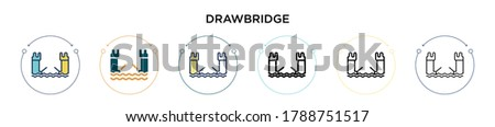 Drawbridge icon in filled, thin line, outline and stroke style. Vector illustration of two colored and black drawbridge vector icons designs can be used for mobile, ui, web