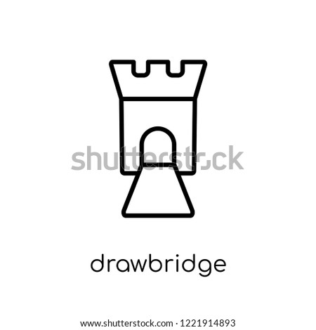 drawbridge icon. Trendy modern flat linear vector drawbridge icon on white background from thin line Fairy Tale collection, editable outline stroke vector illustration