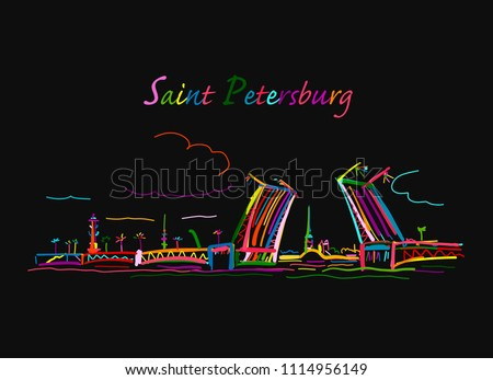 Drawbridge, symbol of Saint Petersburg, Russia. Sketch for your design