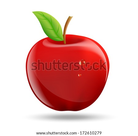 drawing a red apple on a white