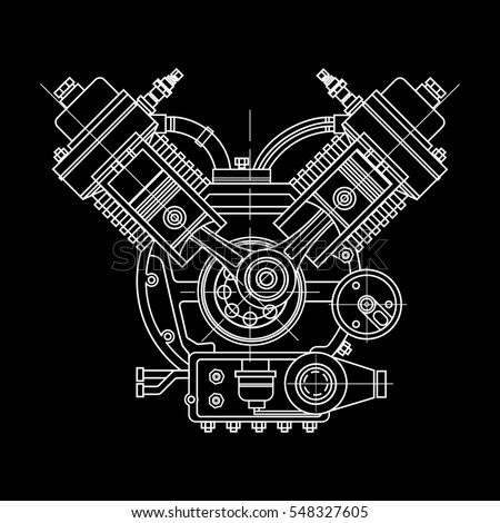 Drawing an internal combustion engine in an isolated section in black background. It can be used as an illustration for the high-tech, systems and mechanisms, development of engineering and research.
