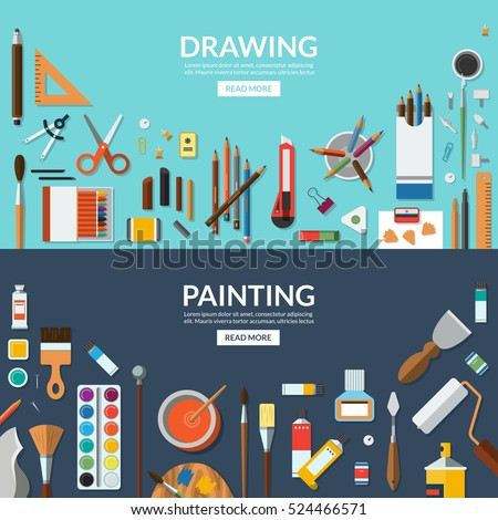 stock-vector-drawing-and-painting-fine-art-and-creative-process-conceptual-banners-art-supplies-stationery
