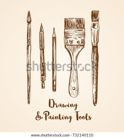 drawing and painting tools hand ...