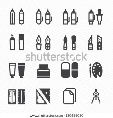 Drawing and Painting Tools Icons with White Background