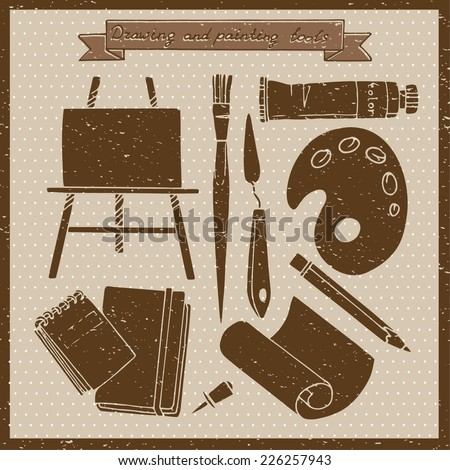 Drawing and painting tools. Vintage vector illustration with art materials and tools for drawing and painting. #226257943