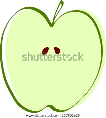Sliced Apple Drawing Drawing Apple Slice Vector