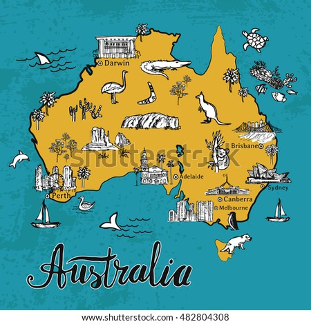 drawing australia vector map hand drawn map of australian continent with lettering