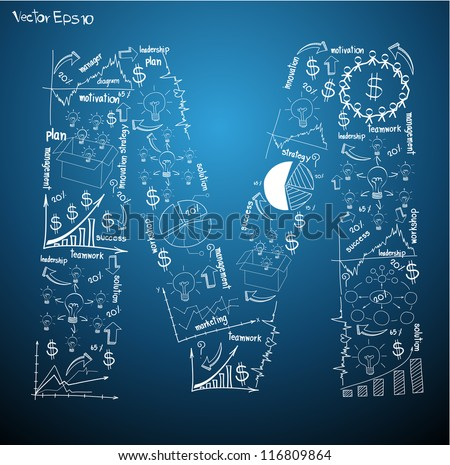 Drawing business plan concept diagrams of alphabet letters ( M ) Vector template design