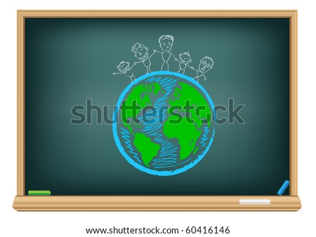 Drawing children and earth by a chalk on the classroom blackboard