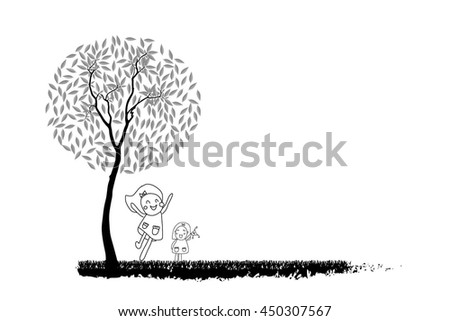 drawing children and tree