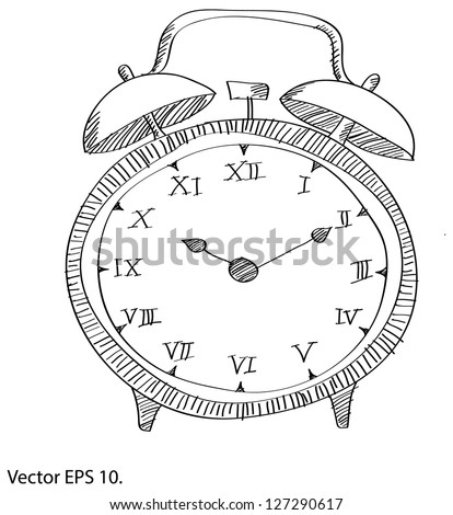 Pencils Line Drawing Drawing Clock Vector Line
