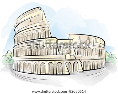 Drawing color Colosseum, Rome, Italy. Vector illustration - stock vector