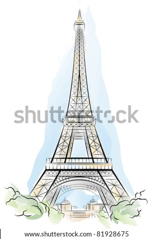 Eiffel Tower Coloring Picture on Stock Vector   Drawing Color Eiffel Tower In Paris  France  Vector