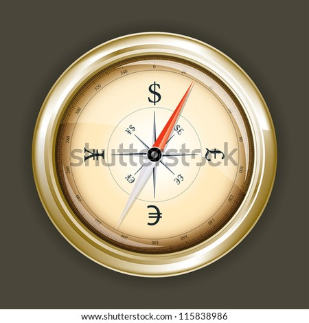 Drawing compass indicating the direction of the money
