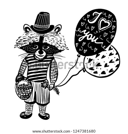 drawing cute raccoon in a hat and balloons, lettering, hand-drawn doodle comic sketch vector illustration. good for cards, prints, illustrate articles