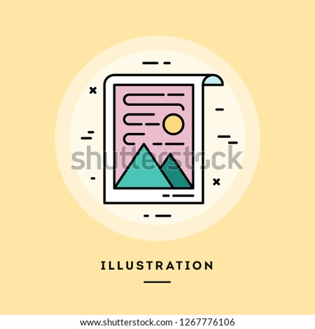 Drawing, flat design thin line banner, usage for e-mail newsletters, web banners, headers, blog posts, print and more. Vector illustration.