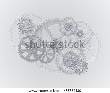 Drawing gears on a gray background, vector illustration clip-art