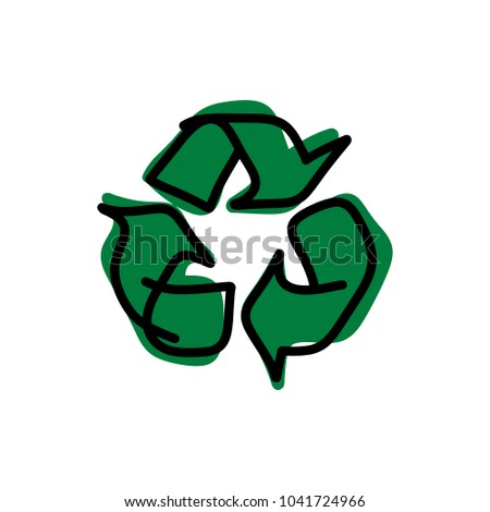 drawing green recycle vector illustration sketch hand drawn with black lines isolated on white background