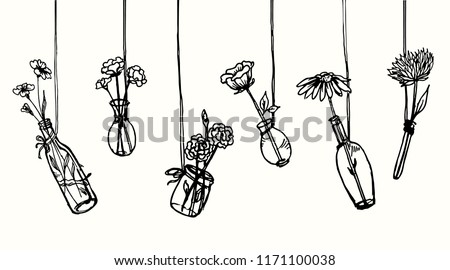 drawing hanging flowers in