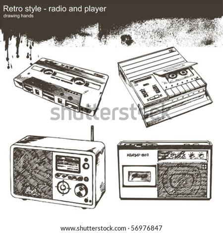 drawing hangs - radio and player