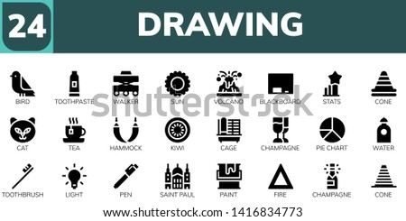 drawing icon set 24 filled