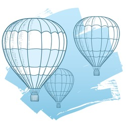 Drawing Illustration of hot air balloons floating in the sky. Represents freedom, travel, mobility, and fun. Vector eps10.
