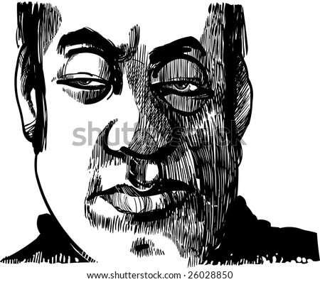 drawing illustration of wise man face - stock vector