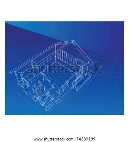 drawing in isometric projection at home on a blue background
