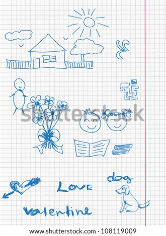 Drawing in notebooks vector