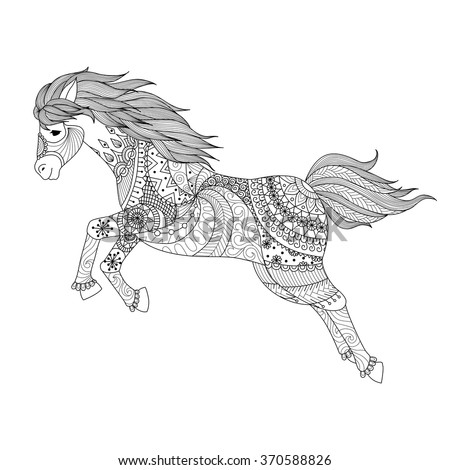 drawing jumping horse zentangle