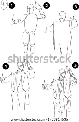 Drawing learn step by step tutorial techniques people occupations set with professions jobs business working trade career province for kids workbook isolated background. Vector illustration maestro