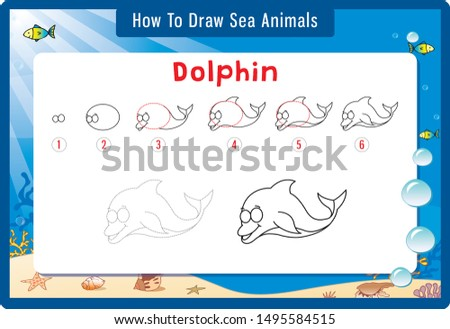 Drawing lesson for children. Cartoon vector illustration of sea animals.  Step by step repeats the picture.