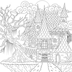Drawing medieval haunted house, happy Halloween theme, for printing, coloring book. Vector illustration