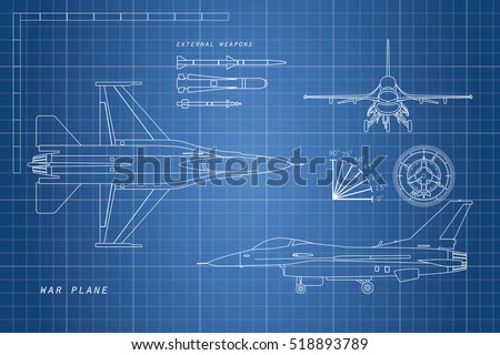drawing military aircraft top