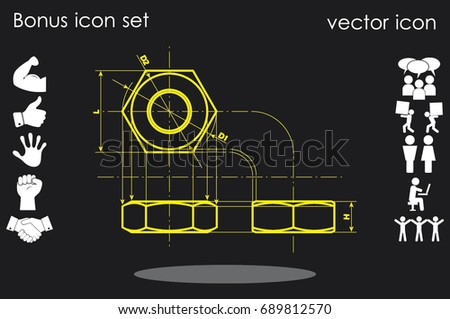 drawing nut three projection icon vector EPS 10, abstract sign screw-nut flat design,  illustration modern isolated badge for website or app - stock info graphics