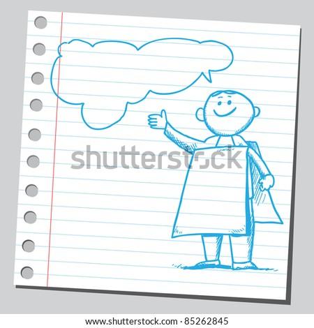Drawing of a billboard man speaking something