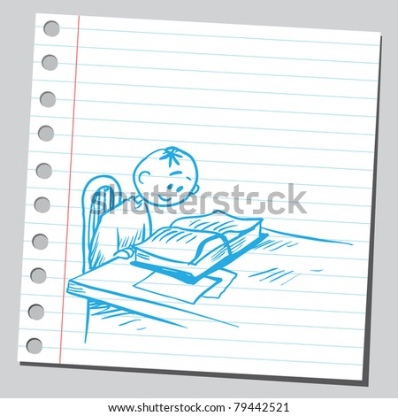 Drawing of a boy reading book