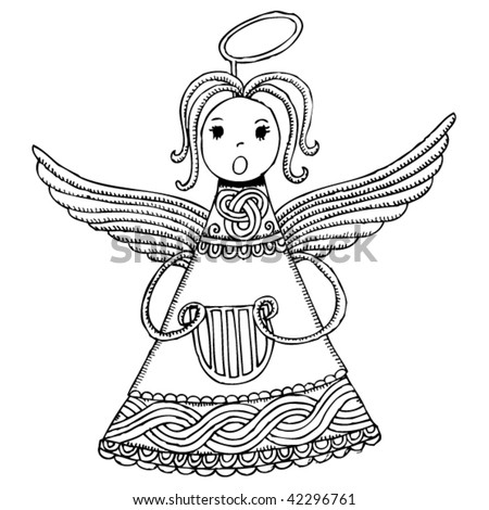 drawing of a Christmas angel with Croatian symbols - stock vector