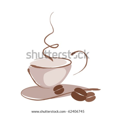 Drawing of a cup of coffee - stock vector