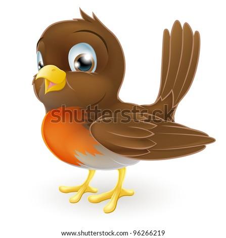 Drawing of a cute cartoon Robin bird standing