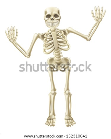 Drawing of a cute cartoon waving skeleton character. Great for Halloween or similar.