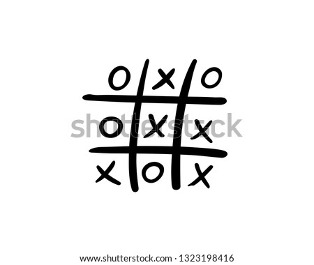 Drawing of a deadlocked tick tack toe game, vector illustration