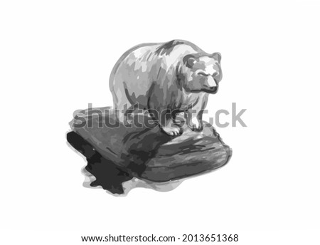 Drawing of a grizzly.Animal sketch. Sketch of a sculpture of a bear.Muscular grizzly bear.Pencil  sketch of a bear.A grizzly bear stands on a hill.Strong grizzly. Stock fotó ©