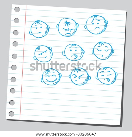 Drawing of a group of faces