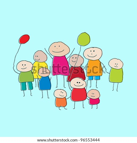 Drawing of a group of people or big family with little children and balloons