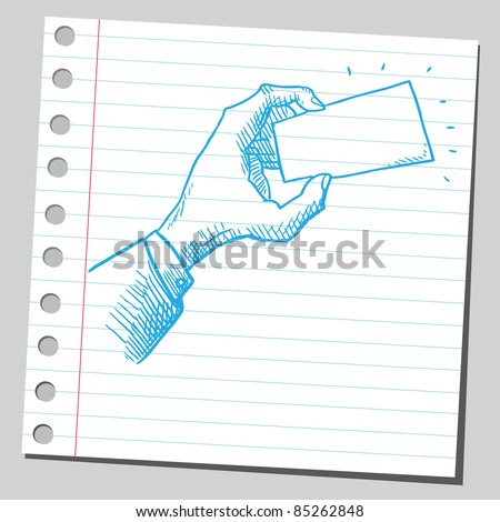 Drawing of a hand holding empty business card