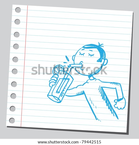 Drawing of a man drinking cocktail